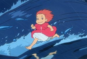 Ponyo magically gliding across the ocean.